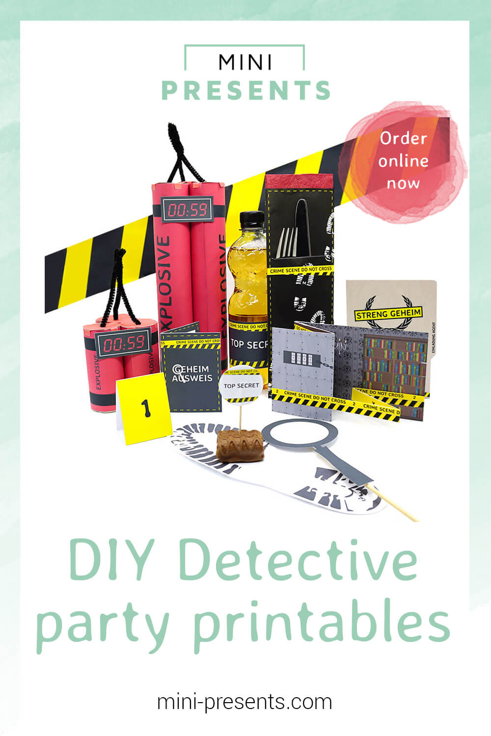 picture regarding Printable Escape Room identify mini-delivers Onlineshop Do it yourself detective get together decoration