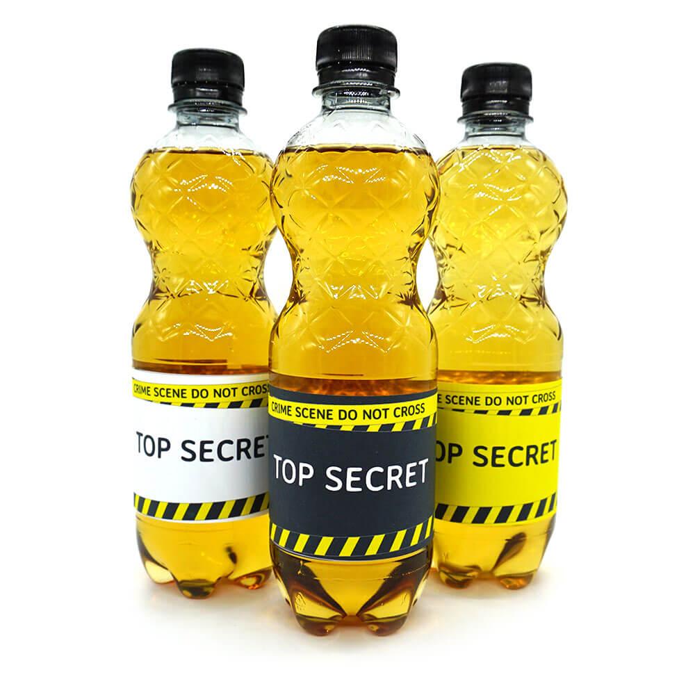 DIY bottle labels, detective party, crime dinner decoration