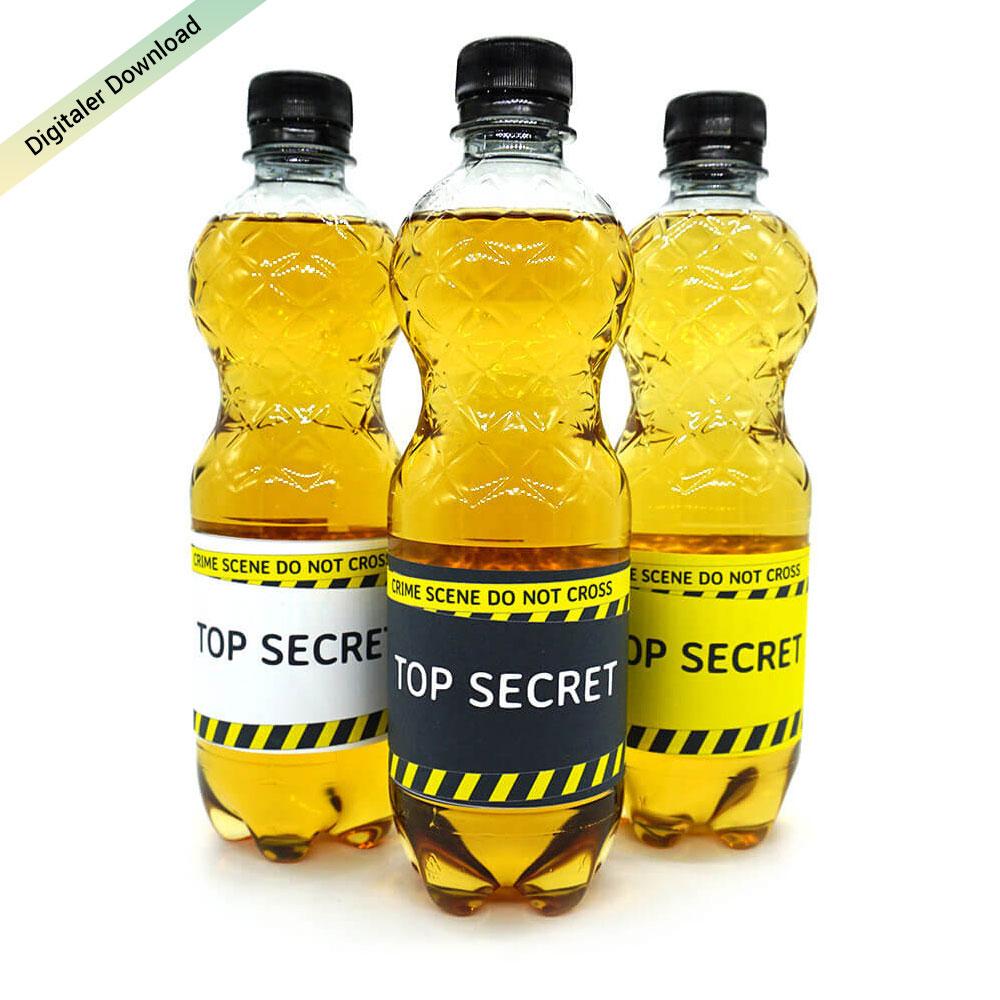 DIY Flaschenetiketten, Detektivparty, Krimidinner Deko