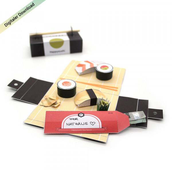 Sushi Geldgeschenk als Restaurant Gutschein ausdrucken & basteln
