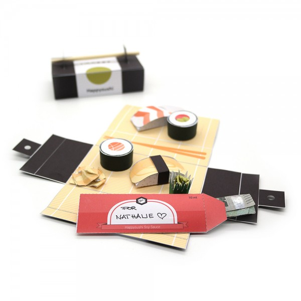 "Explosionsbox, Pop-up Box ""happysushi"" Geldgeschenk als DIY Bastelanleitung"