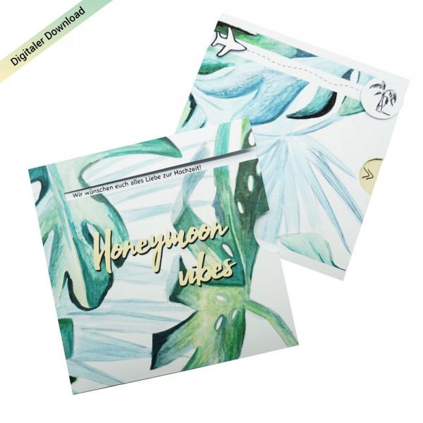 DIY Geldgeschenk zur Hochzeit für die Flitterwochen ausdrucken & basteln