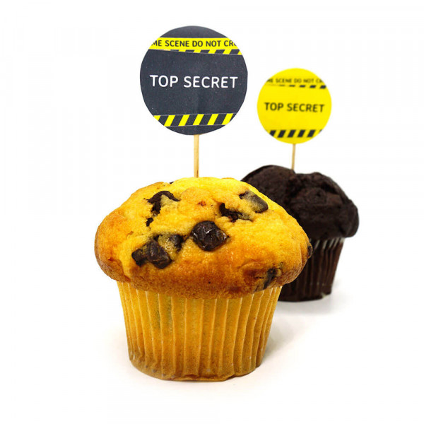 DIY muffin picker, detective party, crime dinner decoration
