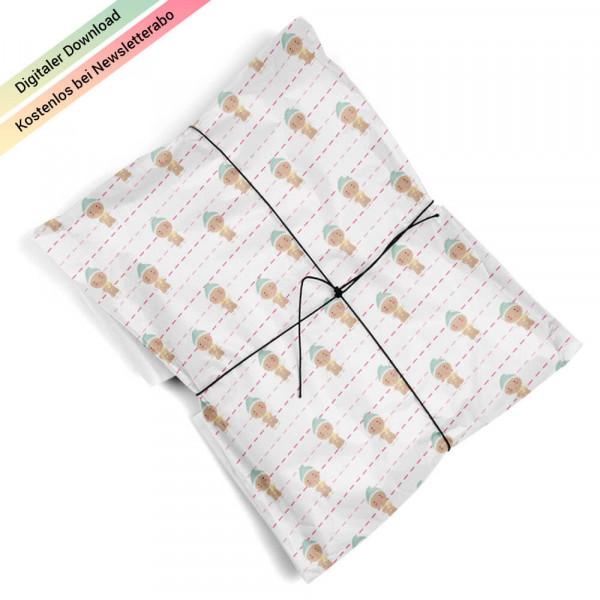 Weihnachtsgeschenkpapier mit mit Lebkuchenmännchen zum Ausdrucken