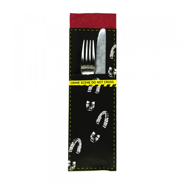 DIY cutlery pockets, detective party, crime dinner decoration