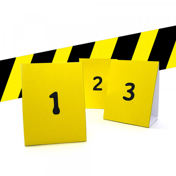 DIY barrier tape and crime scene tags, detective party, crime dinner decoration