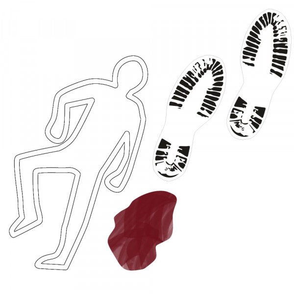 DIY footprints and corpse, detective party, crime dinner decoration