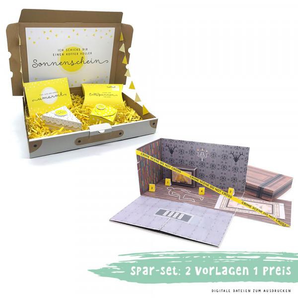 Spar-Set: Escape Room Gutschein & Care Paket zum Ausdrucken