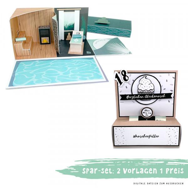 Spar-Set: Wellness Geschenk Gutschein & Geldgeschenkbox zum Ausdrucken
