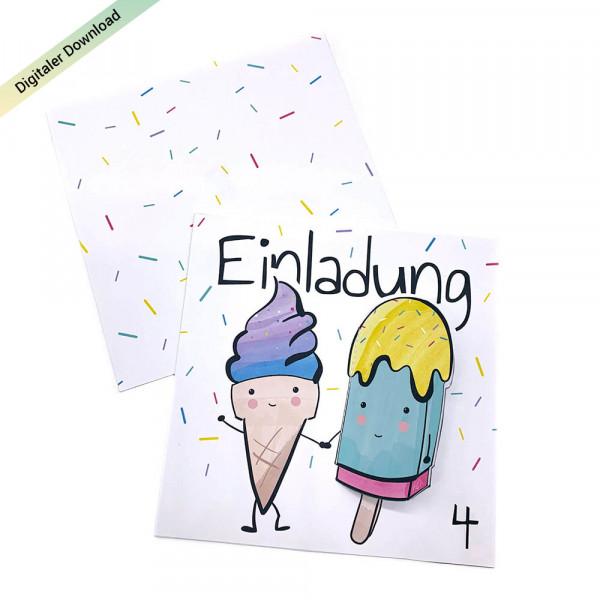 Eiscreme Einladung für den Kindergeburtstag, Eis Einladungskarte