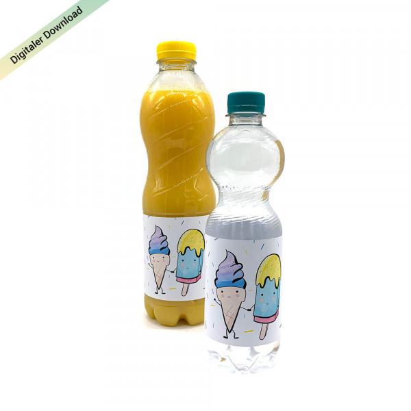 Eiscreme Flaschenetiketten für den Kindergeburtstag, Eisparty Etiketten