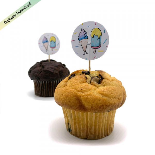 Eiscreme Muffinpicker für den Kindergeburtstag, Eisparty Muffin Topper
