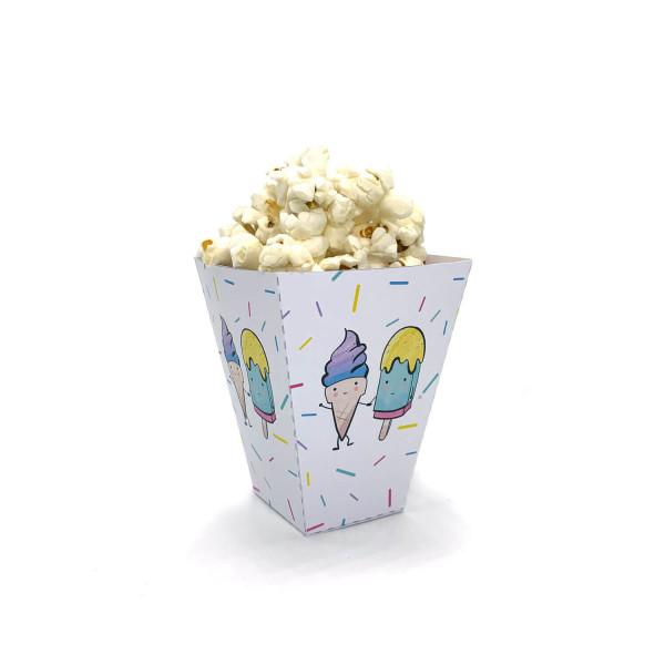 Eiscreme Popcorntüten für den Kindergeburtstag, Eisparty Popcorn