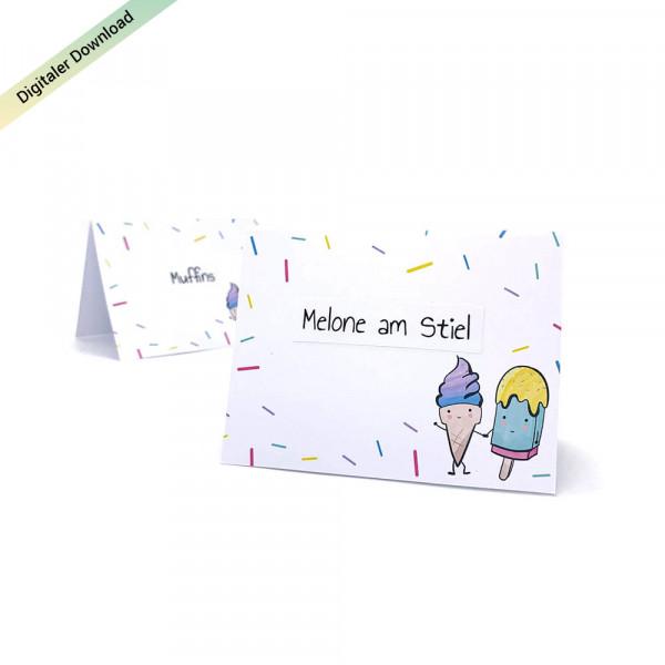 Eiscreme Tischkarten für den Kindergeburtstag, Eisparty Tischkarten