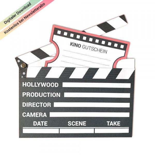 Kinogutschein als Filmklappe zum Ausdrucken & Basteln