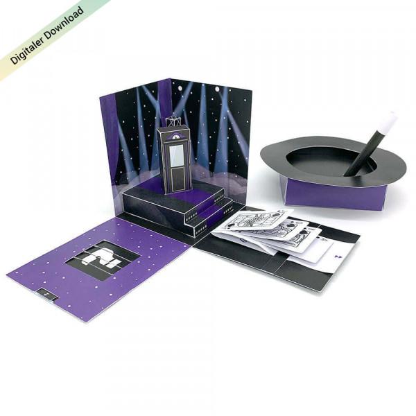 Zaubershow Explosionsbox ausdrucken und basteln